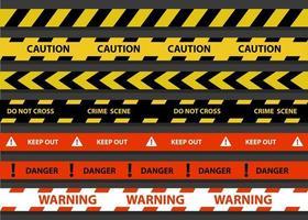 politie streep grens vectorillustratie van zwart, geel en rood. set van gevaar waarschuwing. waarschuwing, blijf buiten, plaats delict, steek niet over.