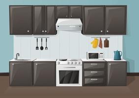 keuken interieur. kamer met koelkast, oven, magnetron, gootsteen en waterkoker. kast meubilair. vector illustratie