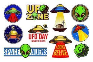 grote aliens logo set. ufo dag. kleurrijke badges met ruimteschepen. vector ontwerp