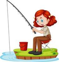 een meisje stripfiguur zitten en vissen op een witte achtergrond