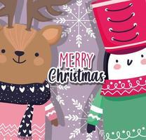 vrolijke kerstkaart met winterrendier en pinguïn vector
