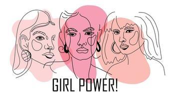 girl power, empowered women, international feminism ideas poster concept. lineaire trendillustratie van vrouwengezichten in trendy stijl. vrouwenrechten en diversiteit vectorillustratie.