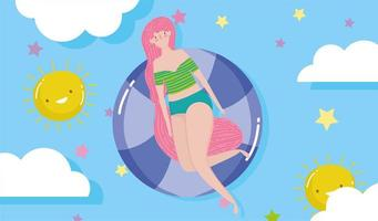 vrouw hallo zomervakantie ontwerp