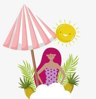 vrouw hallo zomervakantie ontwerp vector
