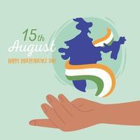 gelukkige onafhankelijkheidsdag van india met kaart vector