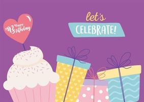 kleurrijke verjaardagskaart met cupcake en geschenken vector