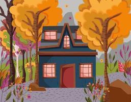 herfstseizoen huis en landschap