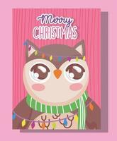 uil met sjaal voor kerstviering vector