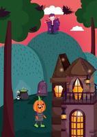happy halloween, trick or treat met schattige karakters