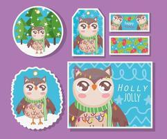 uil met sjaal voor kerstviering kaartenset vector