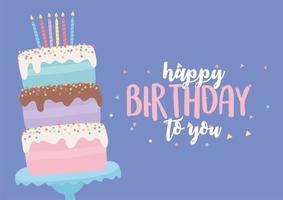 kleurrijke verjaardagskaart met cake vector