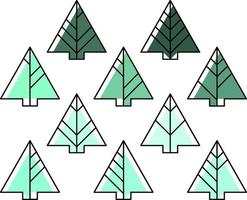 fir tree gekleurd in verschillende tinten groen kleur icon set