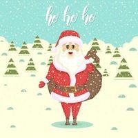 santa met een zak met geschenken. landschap met sneeuwlaag en kerstbomen. vlakke stijl illustratie. gelukkig nieuwjaar en kerstmis. handgemaakte letters -ho ho ho vector
