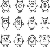 emotionele monsters expressie icon set