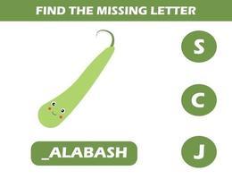 zoek ontbrekende brief met kalebas vector
