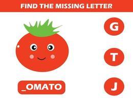 zoek ontbrekende letter met tomaat vector