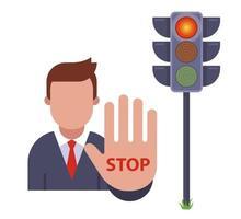 robotman toont stopgebaar bij rood verkeerslicht. volg de verkeersregels. platte vectorillustratie.
