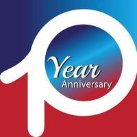 jaar jubileum logo vector sjabloon ontwerp illustratie blauw en wit