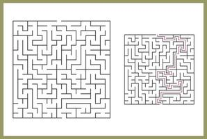 doolhof voor kinderen. abstract vierkant doolhof. vind het pad naar het geschenk. spel voor kinderen. puzzel voor kinderen. labyrint raadsel. platte vectorillustratie geïsoleerd op een witte achtergrond. met antwoord vector