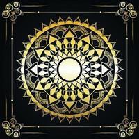 luxe islamitische gouden mandala op groene achtergrond vector