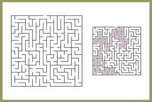 doolhof voor kinderen. abstract vierkant doolhof. vind het pad naar het geschenk. spel voor kinderen. puzzel voor kinderen. labyrint raadsel. platte vectorillustratie geïsoleerd op een witte achtergrond. met antwoord