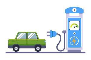 groene elektrische auto laadt op bij het station. platte vectorillustratie geïsoleerd op een witte achtergrond vector