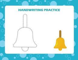 trek de lijnen over met cartoon bell. schrijfvaardigheid oefenen. vector