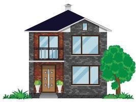 de gevel van een bakstenen huis met een balkon. twee verdiepingen tellende gebouw met een boom en groene struiken op een witte achtergrond. vector