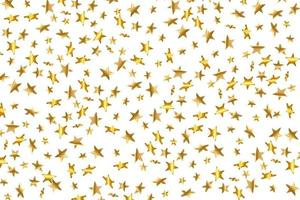 3D-ster vallen. goudgele sterrenhemel op transparante achtergrond. vector confetti ster achtergrond. gouden sterrenkaart. confetti vallen chaotisch decor.