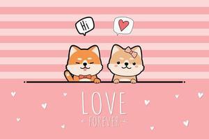 schattige shiba inu puppy minnaar groet cartoon, doodle roze pastel valentijn kaart vector