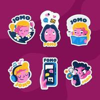 fomo vs jomo stickers set vector