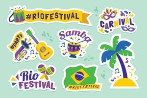 Rio festival sticker of label vector