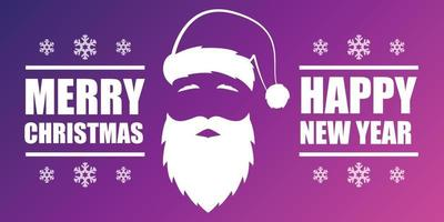 prettige kerstdagen en gelukkig nieuwjaar banner kaart ontwerp met de kerstman.
