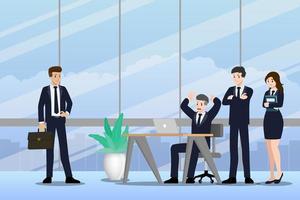 platte ontwerpconcept van zakenman en zakenvrouw teamwerk met verschillende poses, werken en presenteren vector