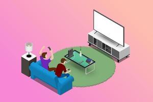 paar mannen karakter spelen een gameconsole op grote led-tv en zittend op de bank in een woonkamer voor entertainment in modern huis interieurconcept. vector plat geïsoleerd illustratie ontwerp.