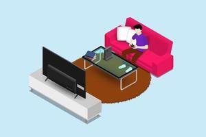 man karakter een spelconsole spelen op grote led-scherm tv en zittend op de bank in een woonkamer voor entertainment in modern huis interieurconcept. vector plat geïsoleerd illustratie ontwerp.