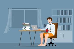 jonge zakenman zit en werkt met laptop op de stoel thuis. vector