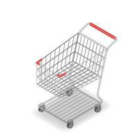 isometrisch 3d supermarktboodschappenwagentje voor gemakswinkelwinkel die op witte achtergrond wordt geïsoleerd.