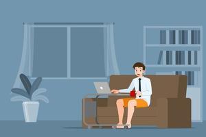 jonge zakenman zit en werkt met laptop op de bank thuis. vector