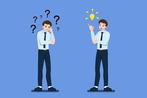 doordachte zakenman karakter met gekruiste arm heeft een vraag. maar een andere zakenmedewerker heeft een groot idee met gloeilamp. vector