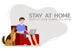 jonge zakenman zit en werkt met laptop op de bank thuis met zijn hond. online baan op sociaal gebied voor veiligheid en om hem te beschermen tegen coronavirus. vector illustratie plat ontwerp.