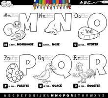 educatieve cartoon Alfabetletters ingesteld van m tot r boekenpagina in kleur