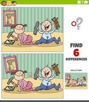 verschillen educatief spel met cartoon baby's vector