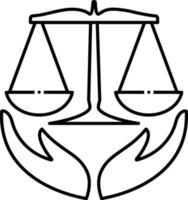 lijn pictogram voor verzekeringsrecht vector