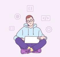 concept van scriptcodering en programmeren in php, python, javascript en andere talen. gelukkige freelancer programmeur die aan zijn project werkt. vector