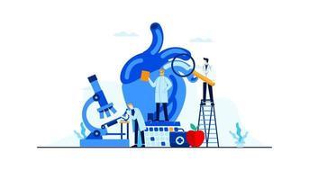 hartziekte vlakke afbeelding doktersonderzoek voor behandeling conceptontwerp vector