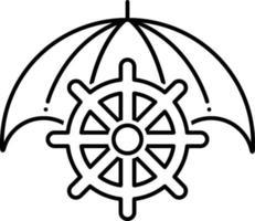 lijn pictogram voor maritieme verzekeringen vector