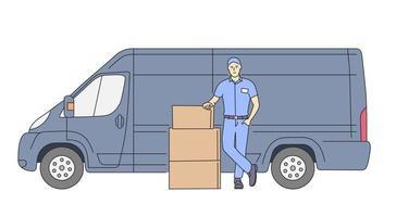 levering, koeriersdienst concept. levering koerier man bedrijf pakket met bestelwagen. vector