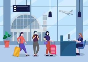 nieuwe normale, vector illustratie mensen in maskers observeren sociale afstand op de binnenlandse luchthaven