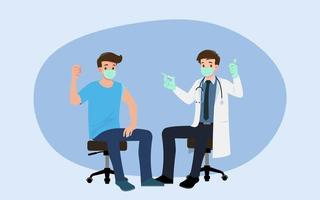 een arts in een kliniek die een man een coronavirusvaccin geeft. vaccinatieconcept voor immuniteitsgezondheid. viruspreventie tot medische behandeling, proces van immunisatie tegen covid-19 voor mensen.